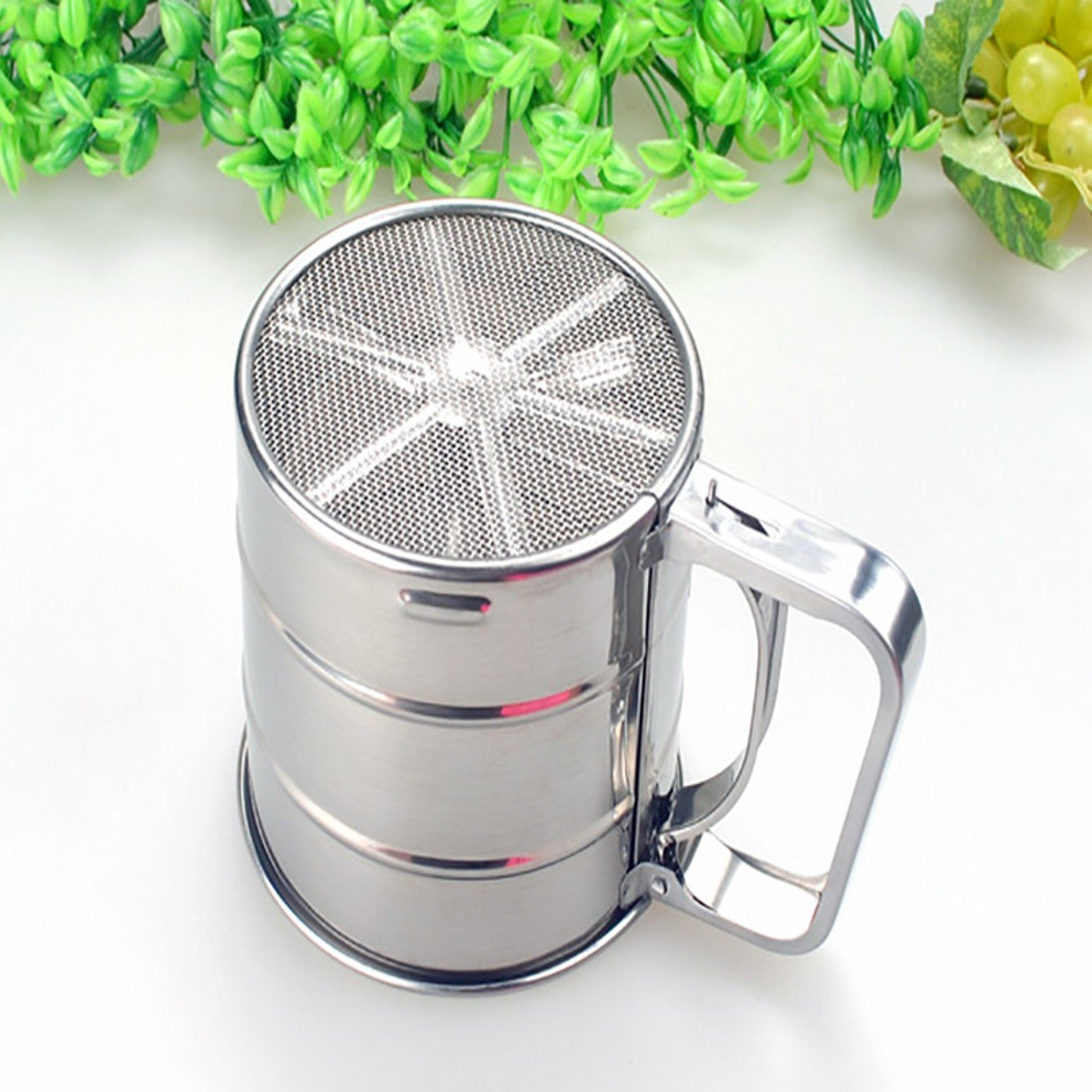 Convenient Flour Sifter Mug Shaped Large capacity Scale Show Dense Mesh Single-deck Coffee Sugar Powder Dusting Filtering Sieve Tool