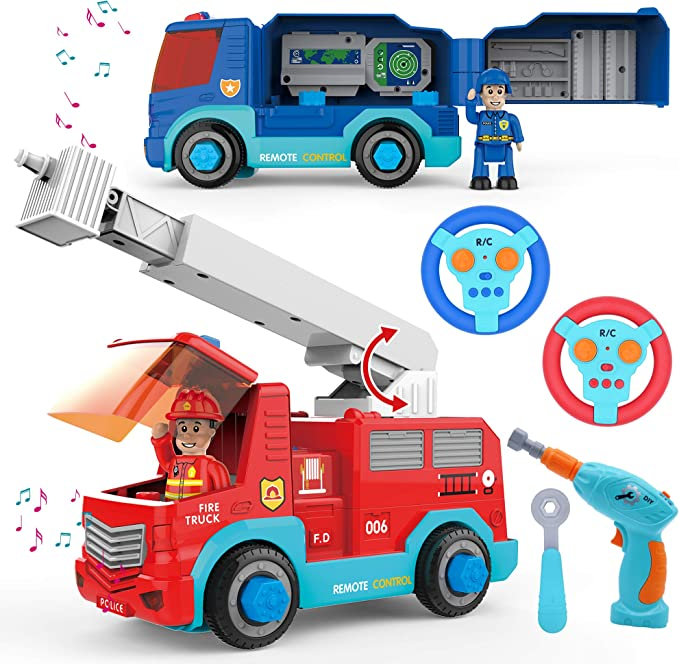 Birthday Present Vehicle Collection Fire Truck and Plane Play Take-Apart Toy Fire Engine with Turntable Ladder with Colorful Train and Tinker Tools Wrench and Screwdriver Tools