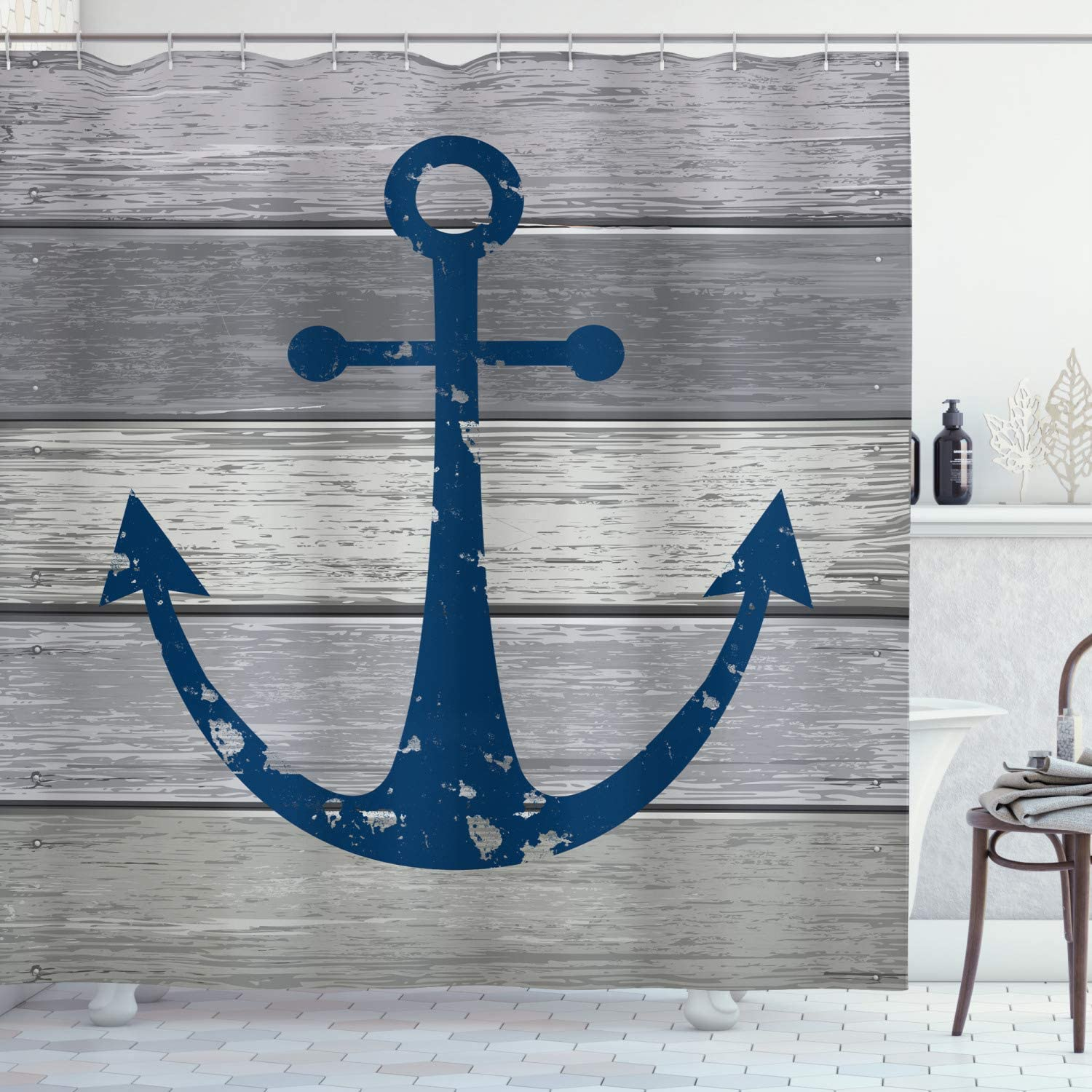 Ambesonne Anchor Shower Curtain, Timeworn Rustic Nautical Maritime Colored Symbol on Grunge Wooden Planks, Cloth Fabric Bathroom Decor Set with Hooks, 70