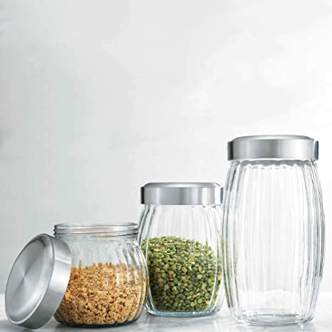Elegant Home Glass Canister Sets Round with Air Tight Lids for Bathroom or  Kitchen - Food Storage Containers (Set Of 3 Optic)