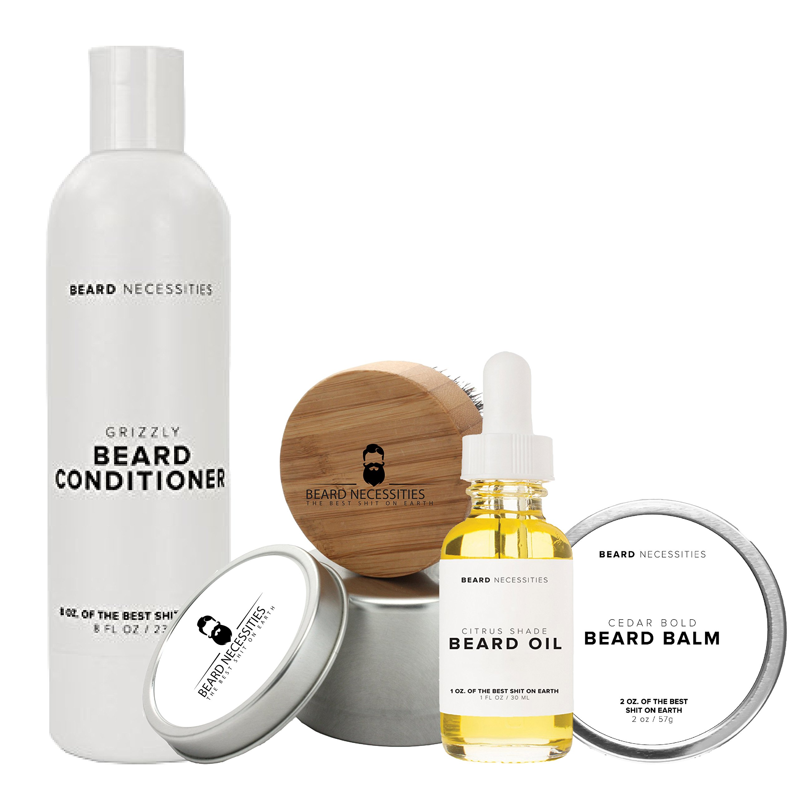 Beard Grooming Kit By Beard Necessities Set Includes Conditioner, Oil, Balm & Brush. Care For Your Beard Today!
