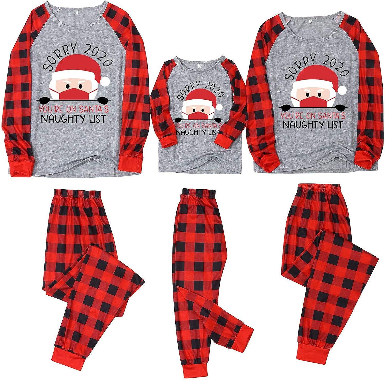 2020 Matching Christmas Pajamas Set for Family Women Men Kids Baby Pjs Red Plaid Reindeer Xmas Clothes