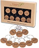 Inspirational Wine Charms Gift Set | 9 Corked Cocktail or Wine Glass Markers w/ Motivational Words