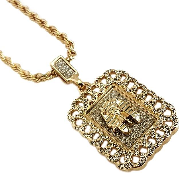 Bañados en oro 18 K egipcia de faraón de King Tutankamón cubana Enlace Colgante Collar: Amazon.es: Joyería