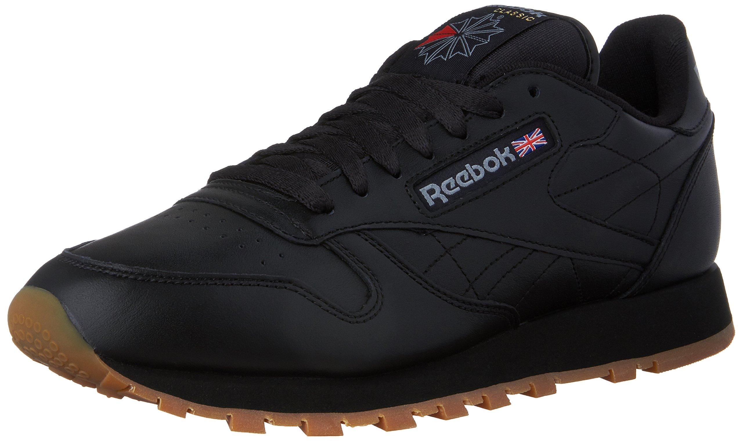 Reebok Men's Classic Leather Sneaker, Black/Gum, 10.5 M US