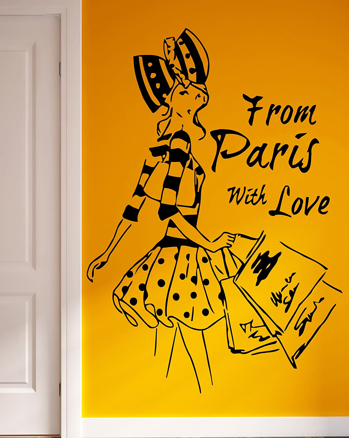 Amazon.com: From Paris with Love French Fashion Woman Decor Wall Art ...