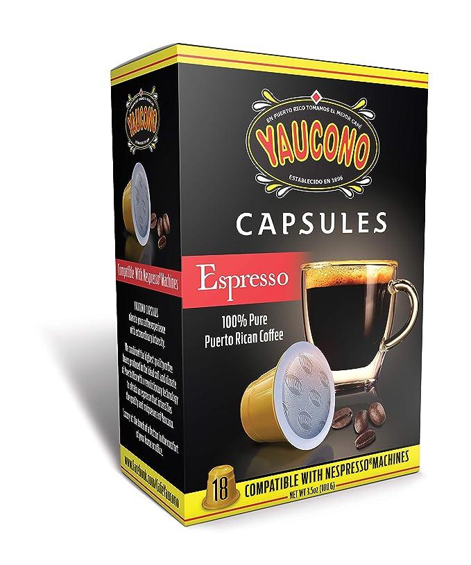Yaucono Espresso Puerto Rican Coffee Capsules for Machines (18 Capsule Box)