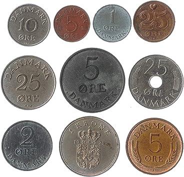10 Monedas Antiguas DE Dinamarca. Corona DE DANÉS ØRE 10 Monedas ...