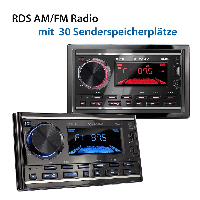 FM I USB AUX I 7 Adjustable lighting colours I 2 DIN XOMAX XM-2R422 Car radio with Bluetooth I RDS I AM