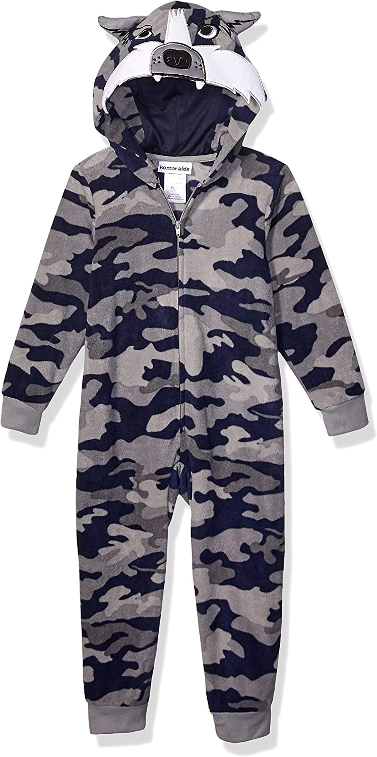 MacHenry Boys Gray Wolf Hooded One-Piece Pajamas Blanket Sleeper