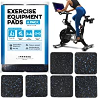 "IMPRESA Exercise Equipment Mat 4"" x 4"" x 0.5"" Pads Pack of 6 - Treadmill Mat for Carpet Protection - Protective Anti…"