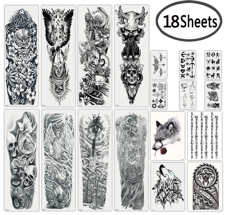 Amazon Com Dalin Extra Large Black Full Arm Temporary Tattoos And