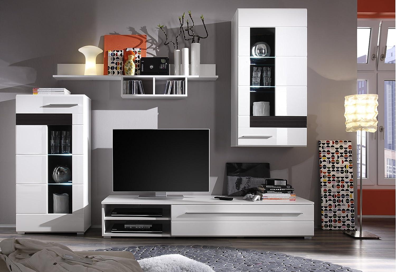 composizione soggiorno moderno end, mobile porta tv, parete di ... - Vetrina Soggiorno Bianca