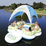Sun Pleasure Tahiti Floating Canopy Island - Pump NOT INCLUDED - Giant Inflatable Float - use in Lake, Ocean, River, Pool Floats for up to 6 PEOPLE - 1 YEAR GUARANTEE