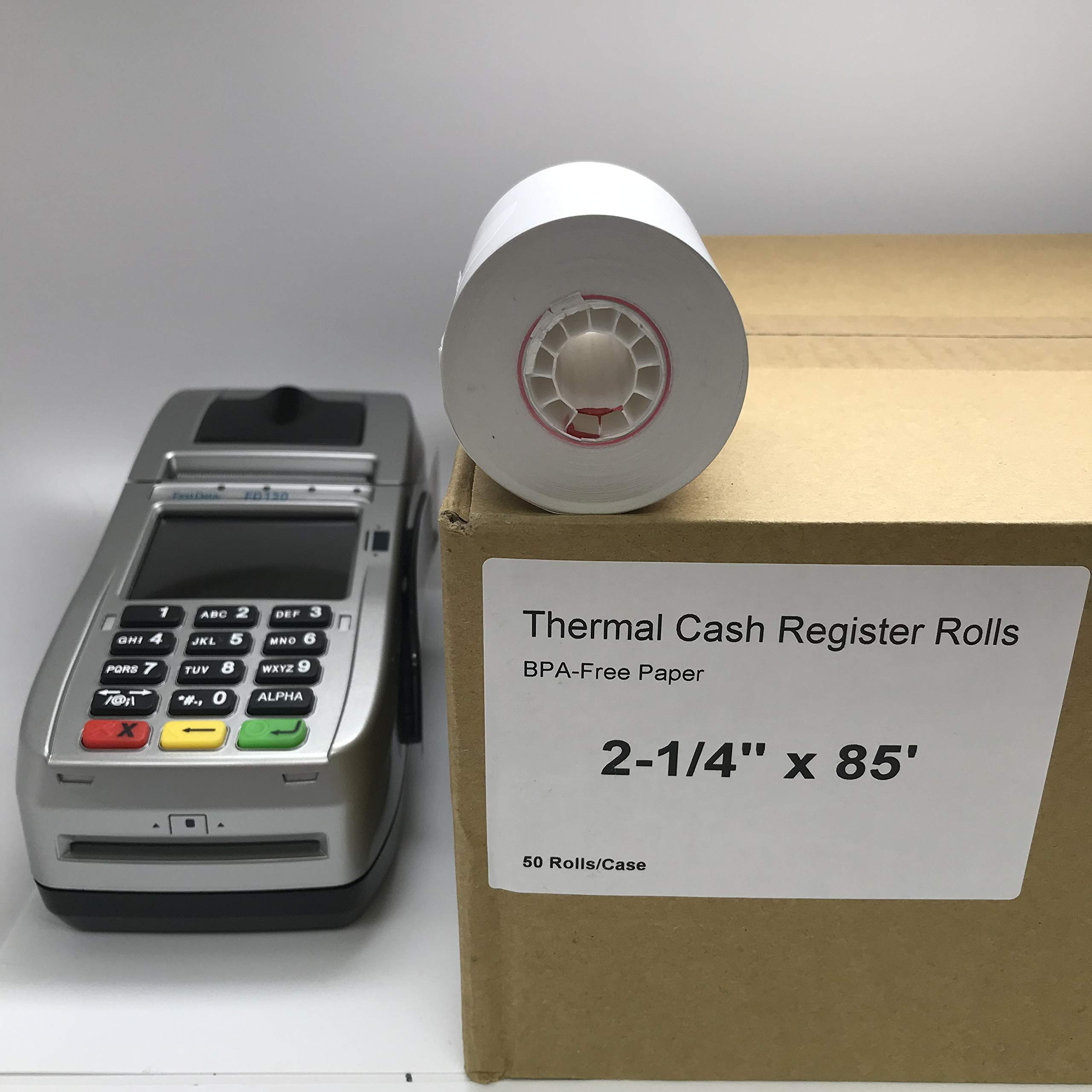 FD-130 Credit Card Terminal with 2 1/4'' x 85' Thermal Paper (50 Rolls)