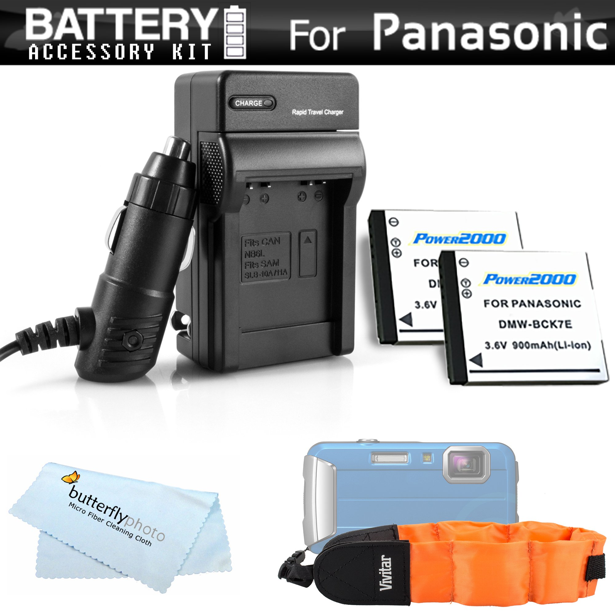 2 Pack Battery And Charger Kit For Panasonic Lumix DMC-TS25, DMC-TS20, DMC-TS30 WaterProof Digital Camera Includes 2 Extended Replacement (900Mah) DMW-BCK7 Batteries + Ac/Dc Rapid Travel Charger + Floating Strap by ButterflyPhoto (Image #1)