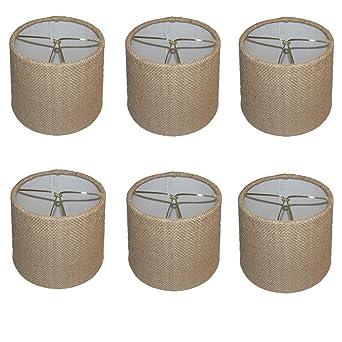 Upgradelights set of six 6 inch barrel drum chandelier shades in upgradelights set of six 6 inch barrel drum chandelier shades in natural burlap fabric 5x6x5 aloadofball Image collections
