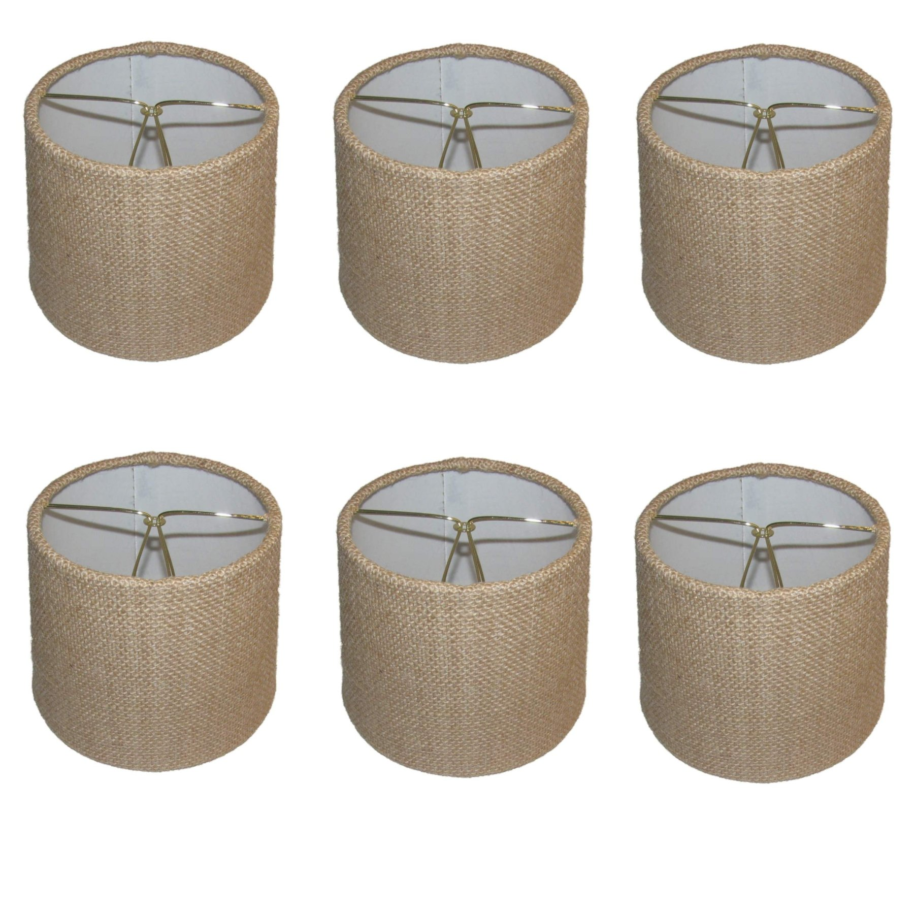 Upgradelights Set of Six - 6 Inch Barrel Drum Chandelier Shades in Natural Burlap Fabric 5x6x5 by Upgradelights (Image #1)