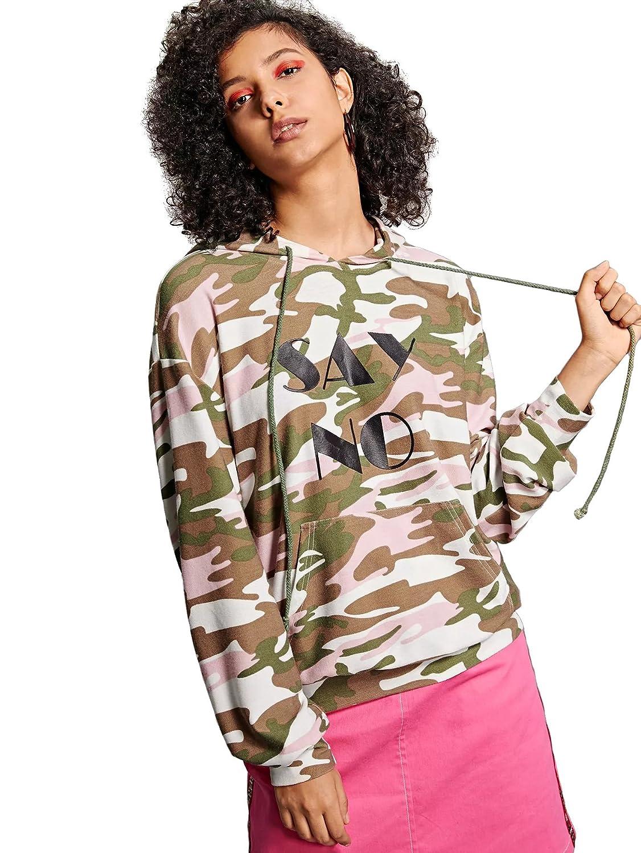 SweatyRocks Sweatshirt Womens Pullover Sweatshirt Letter Print Hoodie