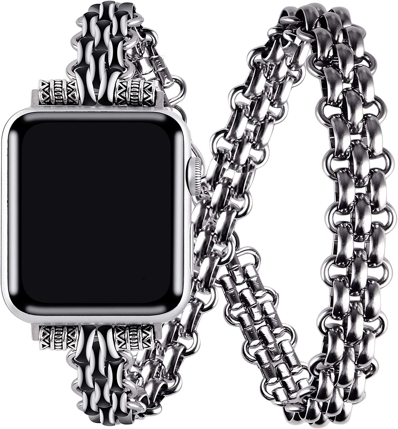 VIQIV Double Wrap Around Bracelets Compatible with Apple Watch 38mm 40mm 42mm 44mm iwatch SE Series 6 5 4 3 2 1 for Women Mens, Stainless Steel Jewelry Dressy Metallic Charm Wristband Strap
