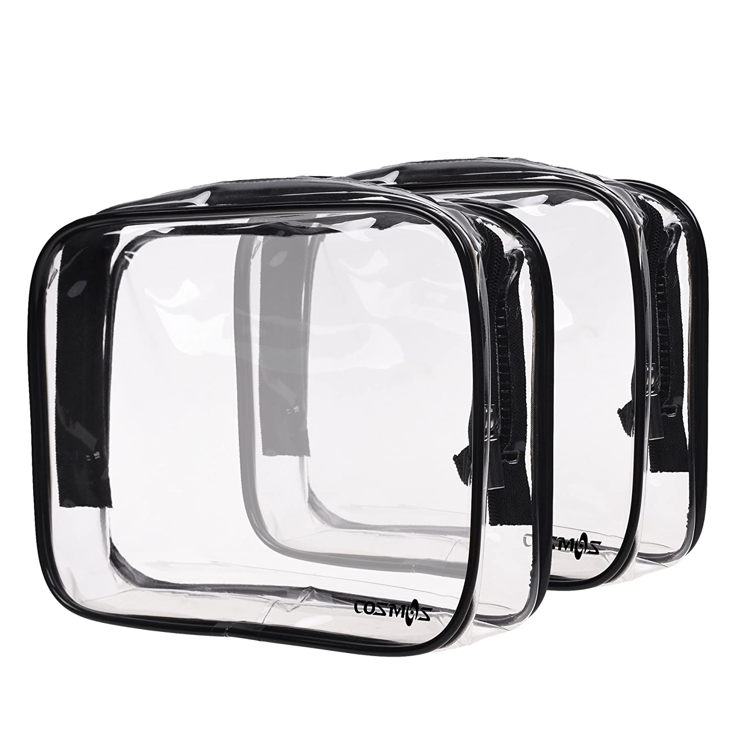 Cosmos 2 Pack Clear PVC Vinyl Zippered Luggage Toiletry Carry Pouch Travel Cosmetic Makeup Bag Clear Bag (Clear/Black)
