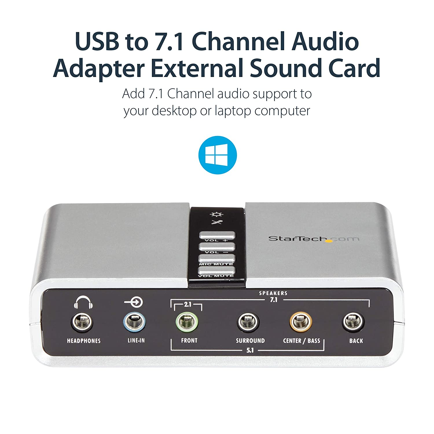 StarTech.com 7.1 USB Sound Card - External Sound Card for Laptop with SPDIF Digital Audio - Sound Card for PC - Silver (ICUSBAUDIO7D)