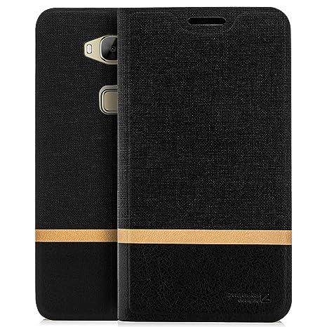 Zanasta Designs Funda Huawei GX8 (G8) Cubierta Carcasa Flip Case Tapa Delantera con Billetera para Tarjetas Protectora, Cierre Abatible Negro