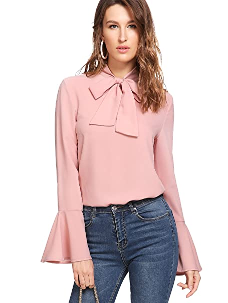 9d507af9242e52 Floerns Women s Bow Tie Long Sleeve Chiffon Blouse Tops at Amazon ...