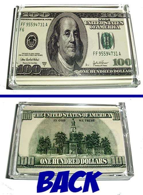 Amazon Com 100 One Hundred Dollar Bill Front And Back Paperweight Sports Fan Paper Weights Sports Outdoors