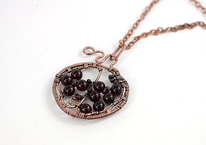 Amazon.com: Amasing HANDMADE Copper Pomegranate Pendant Wire Wrapped ...