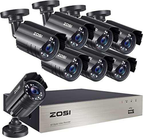 ZOSI 8CH 5MP-Lite Home Security Surveillance System,H.265 8Channel 5MP-Lite HD-TVI CCTV DVR and 8pcs 1080P Indoor Outdoor Weatherproof Cameras with 80ft Night Vision,Motion Alert,NO Hard Drive