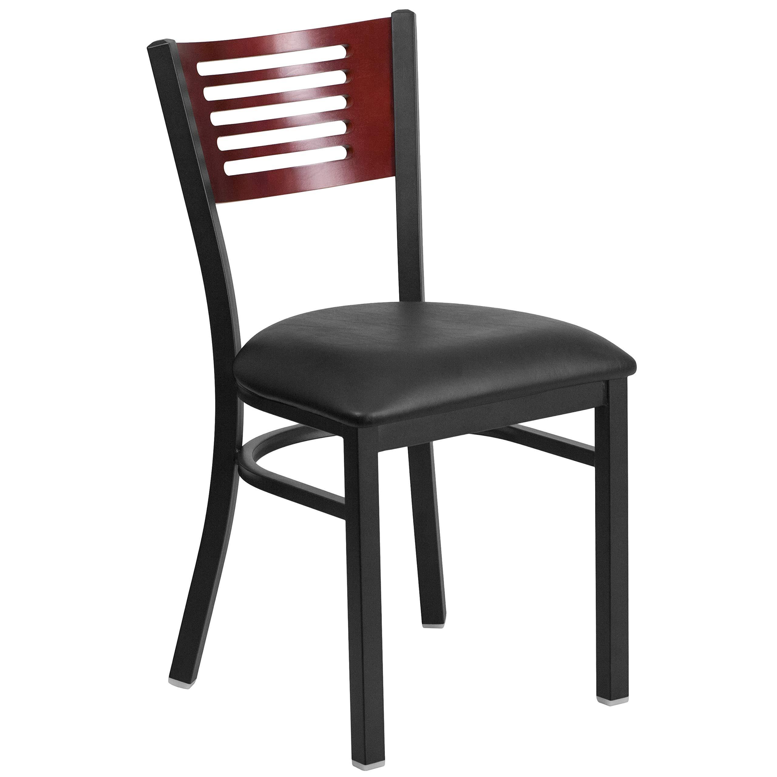 MFO Princeton Black Slat Back Metal Restaurant Chair - Mahogany Wood Back, Black Vinyl Seat