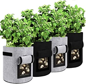 SENDIN 4 Pack 10 Gallon Potato Grow Bags, Two SidesVelcro Window Vegetable Grow Bags with Flap and Handles, Double Layer Premium Breathable Nonwoven Cloth Plant Grow Bags for Potatoes, Tomato, Fruits