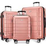 SHOWKOO Luggage Sets Expandable PC+ABS Durable Suitcase Double Wheels TSA Lock Rose Gold 3pcs