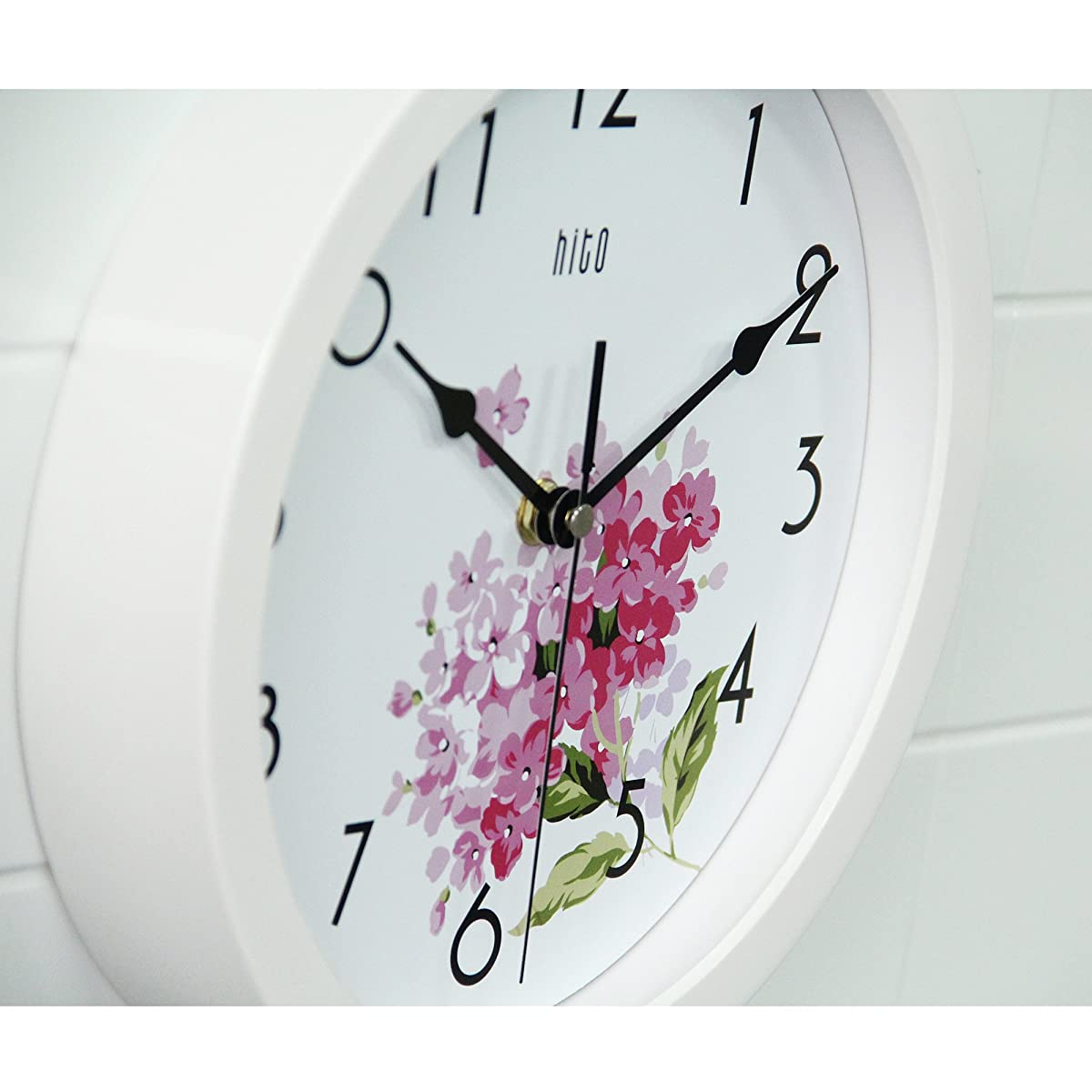 HITO Modern Colorful Floral Silent Non-ticking Wall Clock- 10 Inches (fl1 white)