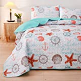 A Nice Night 3-Piece Quilt Set Coverlet, Boho Bohemian,Shells Star Anchor Pattern, Lightweight Design for All Season (Twin (6
