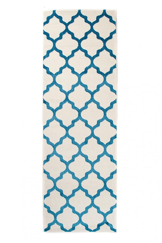 Tapiso MAROKO Läufer Teppich Brücke Flur Korridor Modern Geometrisch Marokkanisch Gitter Designer Muster Creme Blau ÖKOTEX 80 x 560 cm