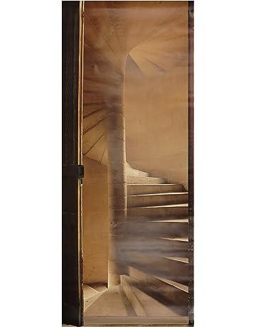 PLAGE Escaleras De Piedras En Espiral Trampantojo de Puerta, Vinilo, Blanca, 83x3x204 cm