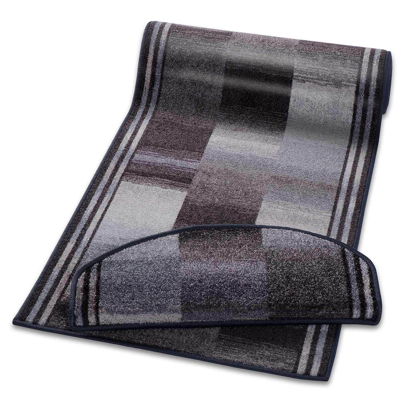 Casa pura Teppich Läufer Grau Gemustert   Qualitätsprodukt aus Deutschland   Gut Siegel   Kombinierbar mit Stufenmatten   3 Breiten und 27 Längen (80 x 275cm)