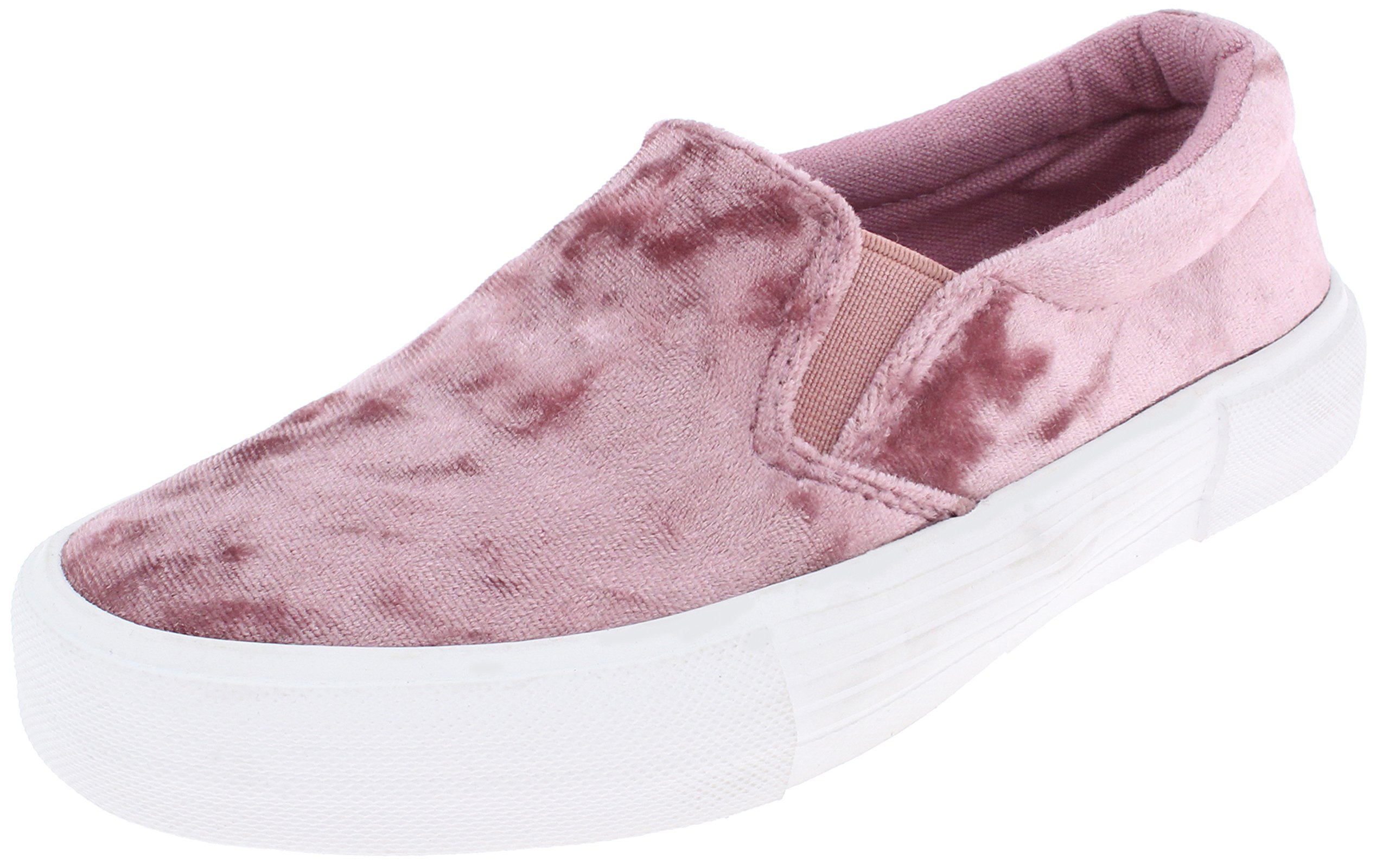 Capelli New York Girls Crushed Velvet Look Sneaker with Tonal Double Elastic Gores Pink 11