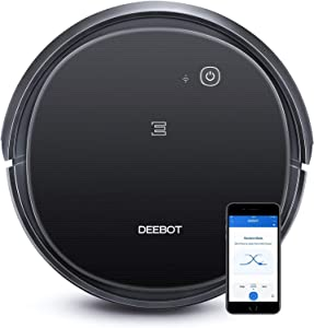 Ecovacs DEEBOT 500 Robot Vacuum Cleaner with Max Power Suction, Up to 110 min Runtime, Hard Floors and Carpets, Pet Hair, App Controls, Self-Charging, Quiet, Large, Black(Renewed)