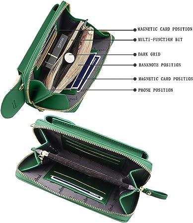 ZhengYue Frauen Brieftasche Cross-Body Tasche Leder Geldbörse Handy Darkblue