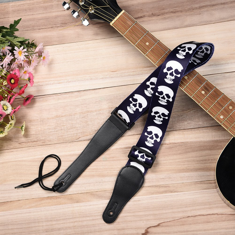 Proteger impreso azul/infierno de calavera correa para guitarra con piel correa para guitarra Bass guitarra eléctrica: Amazon.es: Instrumentos musicales