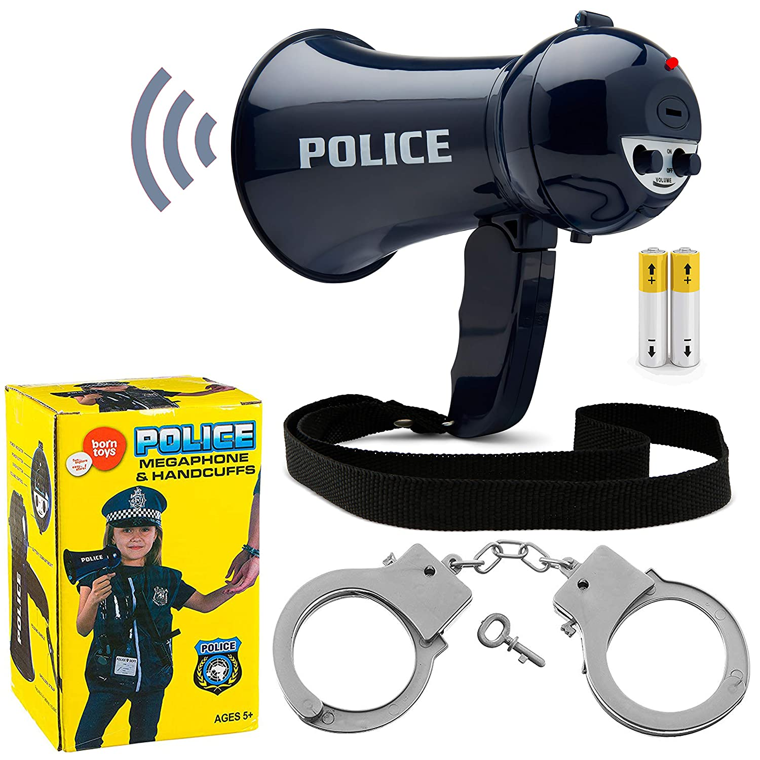 Born Toys Police Megaphone and Handcuffs by (Batteries Included)