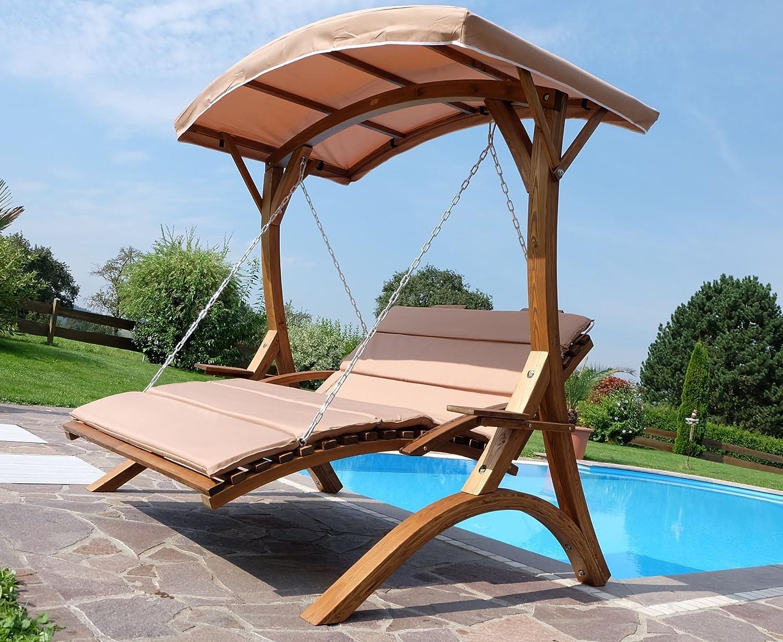 Diseño Hollywood oscilación del jardín Columpio de madera de alerce con el modelo de techo: MACAO: Amazon.es: Jardín