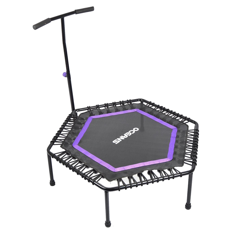 Ocean5 Power Jump Fitness-Trampolin mit Griff, Höhenverstellbares Gymnastik-Trampolin mit Haltegriff für Zuhause, 100-115cm Ø, belastbar bis 120 kg
