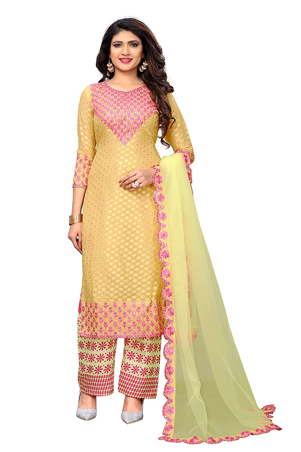 Glory Sarees Women's Semi Stitch Salwar Suit Material