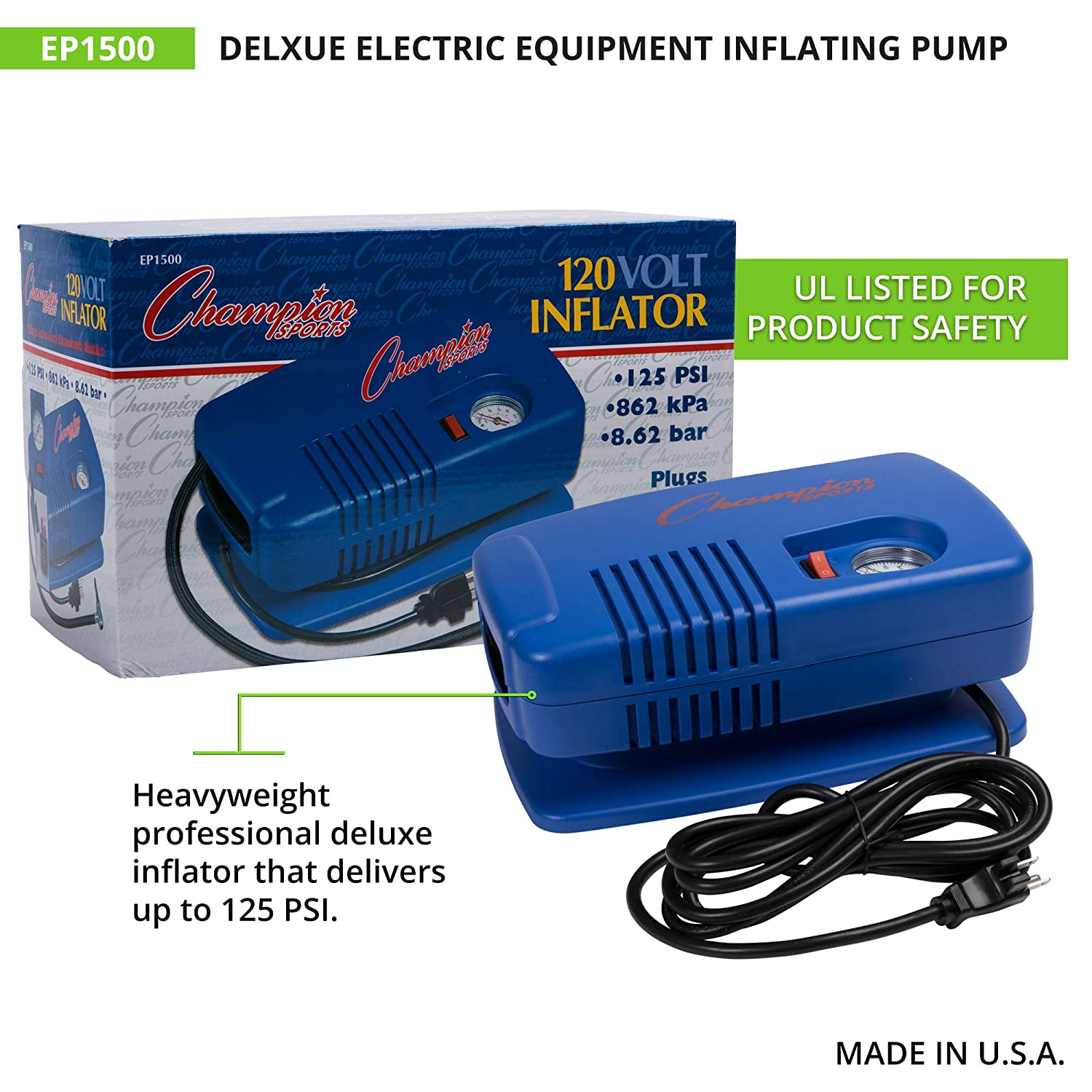 Champion Sports Deluxe Electric Equipment Inflating Air Pump EP1500