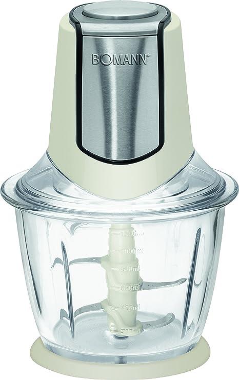 Bomann 615684 Picadora, Recipiente de Cristal 1 litro, función Pica-Hielo, 300W, 300 W, Crema y negro