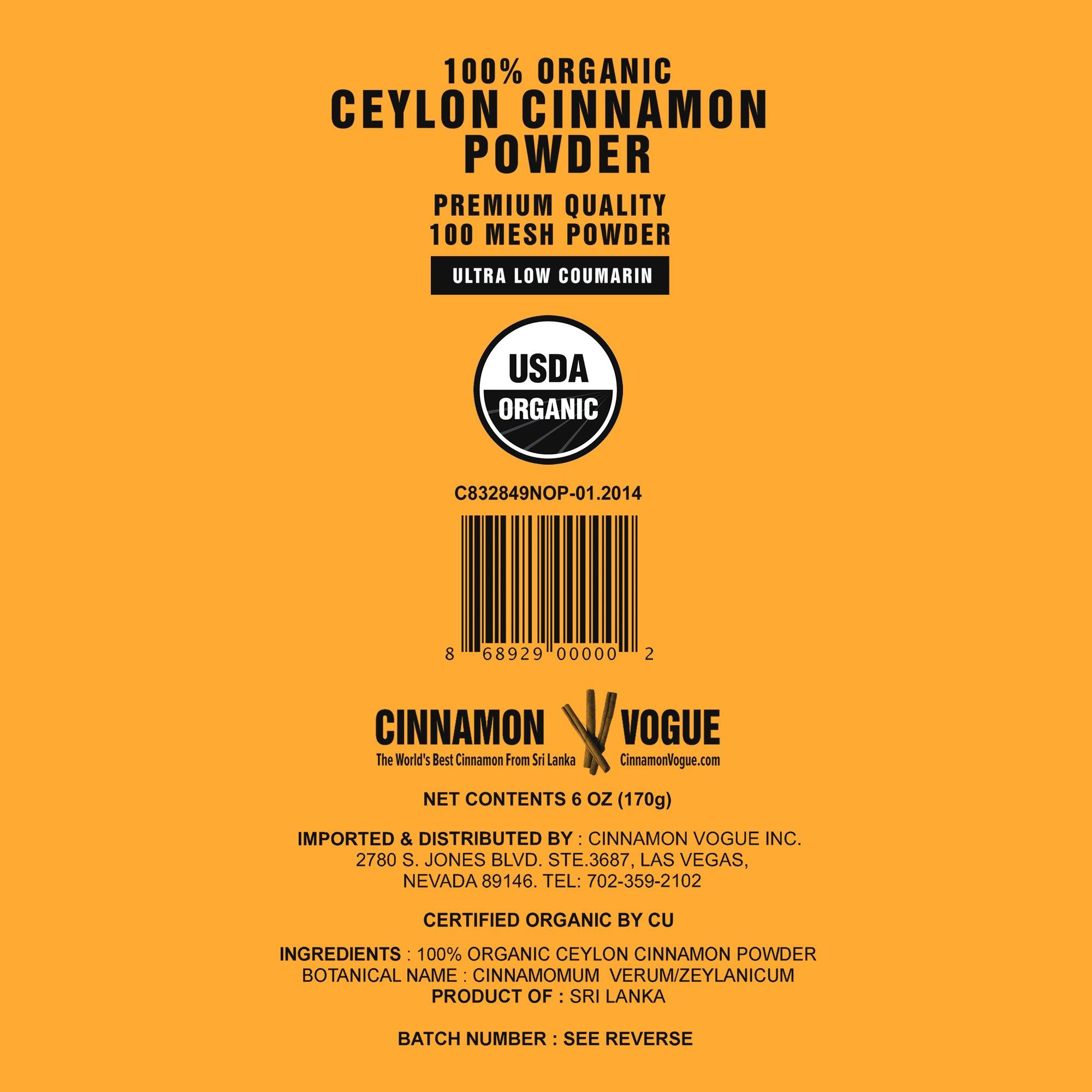 Ceylon Cinnamon Powder – 6 oz. (100% USDA Organic) - Ultra Premium Fine 100 Mesh Powder, Salt Free, Non irradiated, Low Coumarin by Cinnamon Vogue (Image #7)